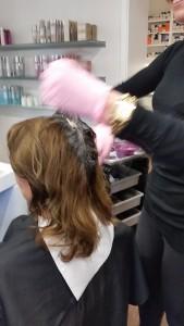 Die Haarfarbe vor der Arbeit.